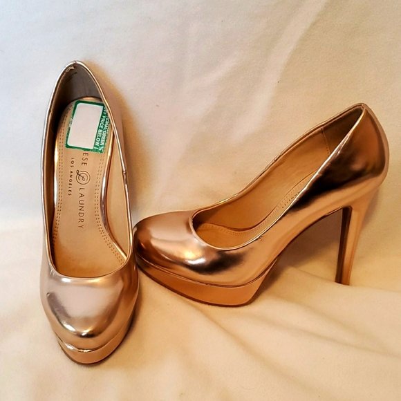 Chinese Laundry rose gold metallic platform pumps